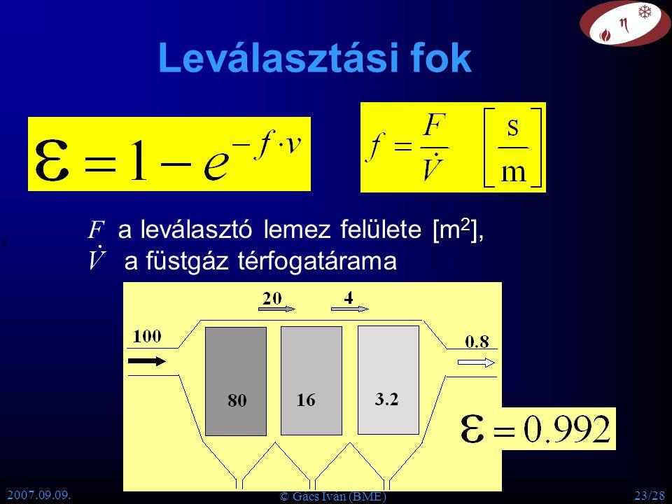 Leválasztási fok F a leválasztó lemez felülete [m2],